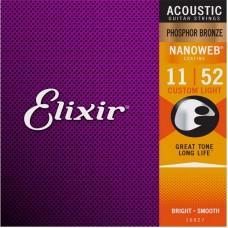 Струны для акустической гитары Elixir 16027, Nanoweb, Custom Light, фосфорная бронза, 11-52
