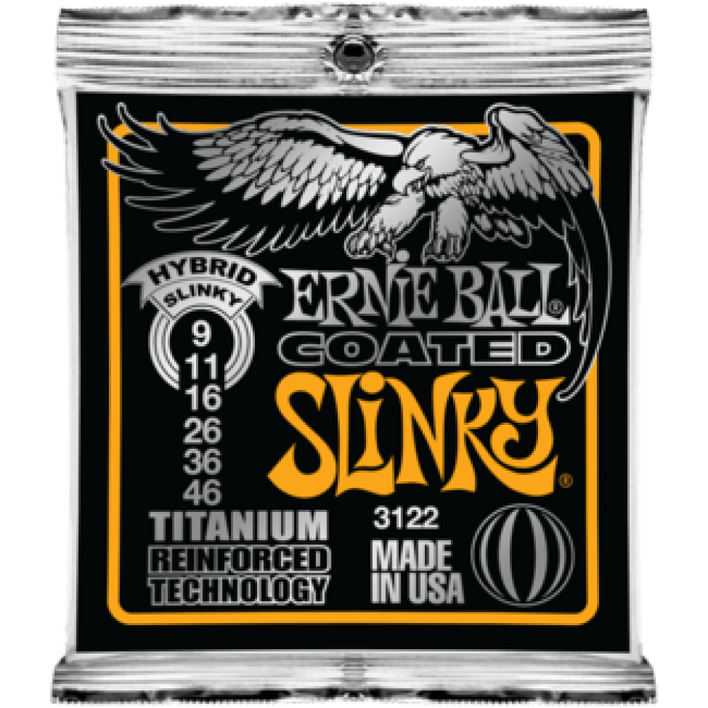 Струны для электрогитары Ernie Ball 3122 9-46 Coated Titanium RPS Hybrid Slinky