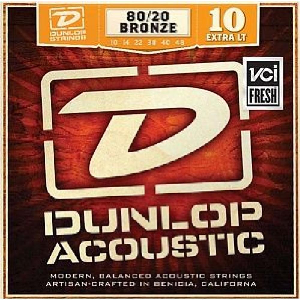 Dunlop DAB1048, Extra Light, бронза 80/20, 10-48, акустические