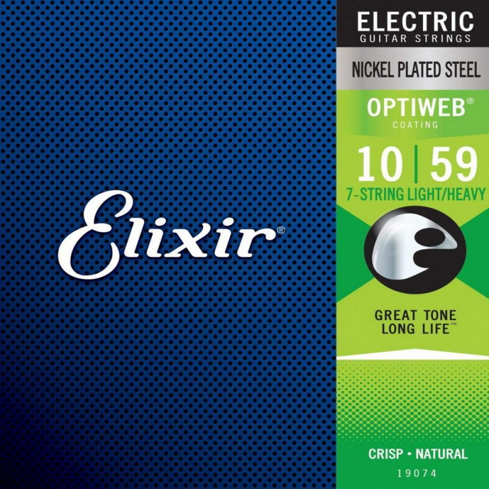 Струны для электрогитары Elixir 19074, Optiweb, Light/Heavy, 7-string, Nickel Plated Steel  10-59
