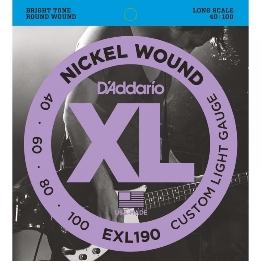 Струны для бас гитары D'Addario EXL-190, никель бас 40-100