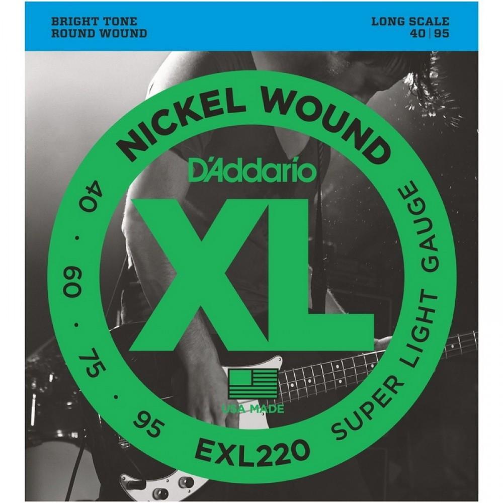 Струны для бас гитары D'Addario EXL-220, никель бас 40-95