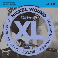 D'Addario EXL-116, никель 11-52 струны для электрогитары
