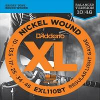 D'Addario EXL-110BT, Balanced Tension, никель 10-46 струны для электрогитары