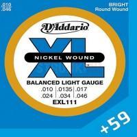 D'Addario EXL-111, Balanced Tension, никель 10-46 струны для электрогитары