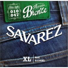 Струны Savarez A130XL, акустические, бронза 10-47