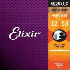 Струны для акустической гитары Elixir 16052, Nanoweb, Light, фосфорная бронза, 12-53