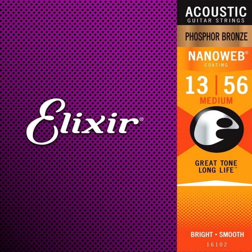 Струны для акустической гитары Elixir 16102, Nanoweb, Medium, фосфорная бронза, 13-56