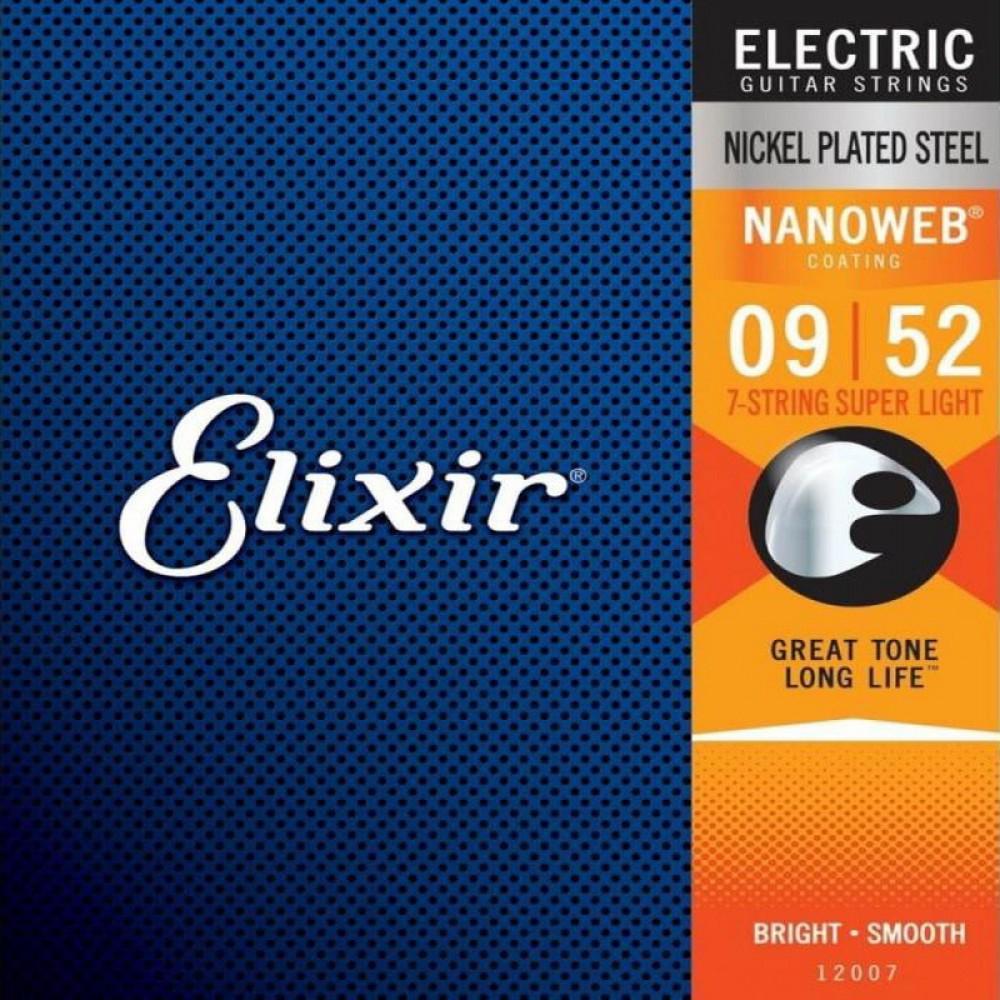 Струны для электрогитары Elixir 12007, Nanoweb, Super Light, 7-string, покрытие Anti-Rust  9-52