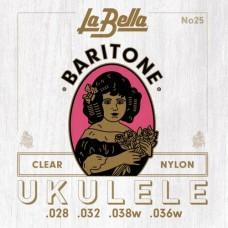 La Bella 25-BARITONE, для укулеле, 3-я струна алюминиевая, 4-я струна посеребрянная